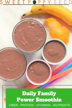 Daily Family Power Smoothie The best way to start off the day is with a veggie, fruit and power add Healthy Living Recipes, Real Food Recipes, Snack Recipes, Yummy Food, Delicious Recipes, Fall Recipes, Healthy Cooking, Diet Recipes, Vegetarian Recipes