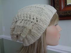 Ivory Knit Lacy Slouch with Very Subtle Sparkle Tam by yarnnscents, $15.00