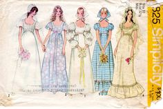 1970s Bohemian Wedding Dress Pattern - Vintage Simplicity 9825 - Bust 32 1/2 Empire Waist Puff Sleeves Scoop Neck Ruffle by ErikawithaK on Etsy