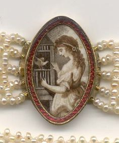 Mourning choker, touching symbolism, woman is opening bird cage to release her lost love. 1780-1790
