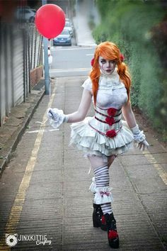 My Lolita inspired Pennywise cosplay! Cosplay designed and done by me:JinxKittie on Patreon PENNYWISE COSPLAY 2017 Halloween Costumes, Halloween Cosplay, Diy Costumes, Scary Halloween, Costumes For Women, Halloween Ideas, Halloween Season, Halloween Costumes From Movies, Disney Halloween Makeup