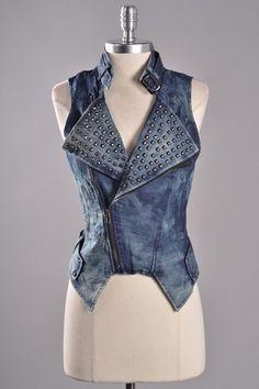 Amazing Jean Studded Vest at www.appealingboutique.com