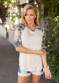 Online boutique. Best outfits. Wildflower 3/4 Sleeve Top Navy - Modern Vintage Boutique
