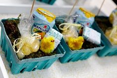 Love these little berry baskets for putting party favors in. Oh and giving San Pelligrino as a favor, how delightful.