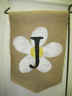 Burlap Garden Flag Daisy with Black Monogram by Burlapulous, $18.00