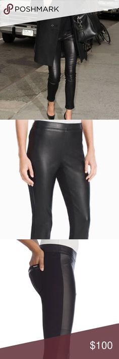 WHBM Luxe Lamb Skin Front Pants WHBM Luxe black Lamb Skin Front Pants. Side zip. Used. Worn 4 times. Quality cleaned. Size 6. Original price $300 one small scuff on left knee. Barely visible when worn. White House Black Market Pants Skinny