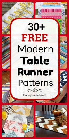Table Runner DIY Patterns 30 Free Modern Table Runner patterns tutorials and diy sewing projects Simple easy and quilted designs included Lots of ideas and instructions f. Table Runner And Placemats, Table Runner Pattern, Quilted Table Runners, Table Runner Tutorial, Patchwork Table Runner, Quilted Table Toppers, Diy Sewing Projects, Sewing Tutorials, Quilting Projects