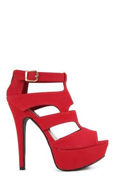 Deb Shops Peep Toe Platform Bootie with Cutout Sides $27.00