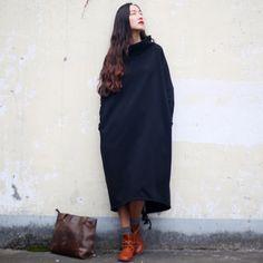 Scuwlinen 2017 осень-зима платье Для женщин хлопковое платье vestidos длинные флисовая утепленная водолазка Повседневное свободные халат плюс Размеры S60