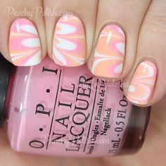 Creamsicle Watermarble | Peachy Polish