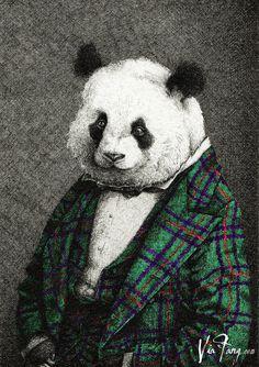 Main image for the bar Panda & Son in Edinburgh Scotland by Via Fang. Anthropomorphic panda art.