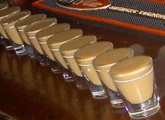 Oatmeal Cookie Shot! 1/2 oz Bailey's Irish Cream, 1/2 oz Butterscotch schnapps, 1/2 oz Goldschlager; Pour into a shaker with ice & strain into shot glasses!