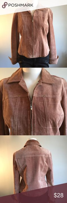 """Beige Suede Short Jacket Used with a minor amount of soil (mostly on cuffed sleeves shown in photo), this is a pretty cool jacket. Size medium but with a generous cut. Bust 41"""", waist/bottom of jacket 39"""", length 21"""". Interior clean. Care instructions say machine wash cold but I don't want to be the first one to do that :). Pretty clean as is. Live a Little Jackets & Coats"""