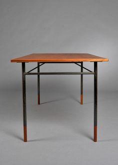 Finn Juhl;  #BO69 Teak and Painted Metal 'System Bord' Table for Bovirke, 1950s.