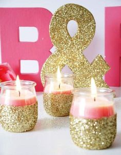 Sparkle letters for masquerade themed bridal shower.M & D :-) Super easy to DIY. TUTORIAL: DIY Pink Candles and Glitter Candle Holders by Bird's Party Glitter Candle Holders, Glitter Candles, Pink Candles, Silver Glitter, Cheap Candles, Silver Spray, Green Glitter, Diy Party Crafts, Craft Party