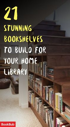 A DIY idea for the extra space under your staircase: Build custom bookshelves and establish a home library! A perfect idea for book lovers.