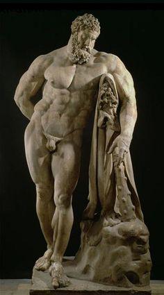 Ancient Roman sculpture, Farnese Hercules, 216 AD.