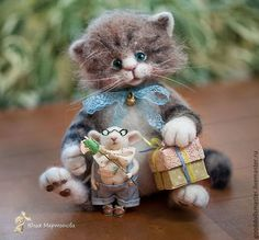 *NEEDLE FELTED ART ~ Animal toys, handmade. Fair Masters - handmade. Buy Kitten and Mouse came to visit:) .... Handmade. Brown, friends