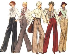 Vintage 1970s high waist flared trousers sewing pattern, palazzo pants, bell bottom slacks from SmilingCatVintage