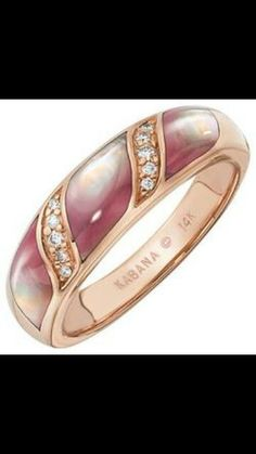 Kabana Ring Diamonds with Pink MotherofPearl Inlay in Rose Gold