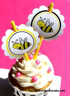 For a bumble bee party!  PRINTABLE Bumble Bee Labels for Stickers Tags or even Cupcake or Cake Pop toppers! by ladybuglabels