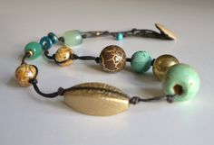 necklace in aqua and gold - boho beaded necklace - brown gold aqua - knotted…