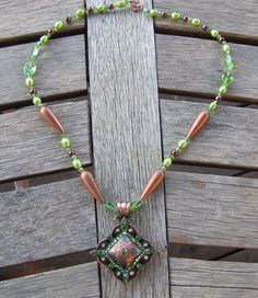 Copper & Peridot Western Concho Necklace and by diamondbjewelry, $85.00