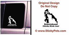Schutzhund DOBERMAN Car Decal Sticker Female Kick Ass!