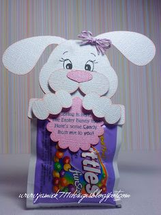 Easter Bunny Treat made with Jaded Blossom Stamps and a Treasure Box Designs File.