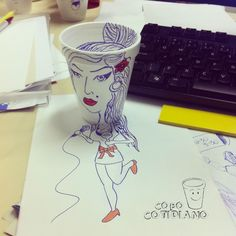 """#amywinehouse art by """"Just For Fun"""" Copo Cotidiano"""