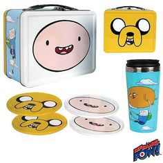 Adventure Time Finn and Jake Tin Tote Gift Set - Convention Exclusive - Entertainment Earth Adventure Time Toys, Cartoon Network Adventure Time, Finn Jake, Geeks, Land Of Ooo, Pow, Cool Coasters, Finn The Human, Jake The Dogs