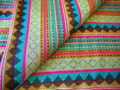 Aztec Fabric, Peruvian Andean Textiles, Bright Lime Pink