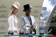 Sophie Weatherby (left) and Baroness Floella Benjamin (right) present the trophy for The Commonwealth Cup during day four of Royal Ascot at Ascot Racecourse. (Photo by John Walton/PA Images via Getty Images)