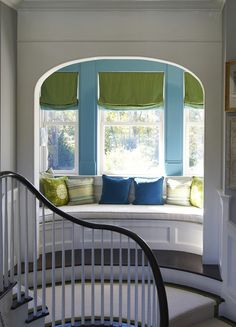 window seat with a view off the stair landing : Lynn Morgan Design