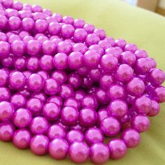 FUSCHIA pink glass pearls 1 strand 10mm round beads by PalomaBeads