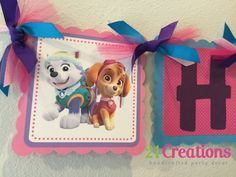 Paw Patrol Everest and Skye Party Banner by 21CreationsToo on Etsy