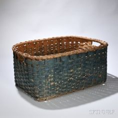 Large Blue-painted Splint Basket, New England, 19th century, of rectangular form with integral handles below the rim, old surface,