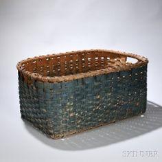 Large Blue-painted Splint Basket