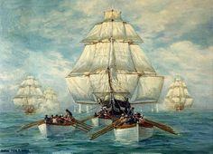 In July 1812, a Royal Navy squadron upon sighting the lone USS Constitution, gave chase. Broke's squadron consisted of the 64-gun HMS Africa and the frigates Shannon, Aeolus, Belvidera.  The wind died away, leaving all vessels wallowing in the sea. Constitution deployed towboats and jettisoned cargo to lighten the ship, while Broke gave chase, ordering boats to pull Shannon. As the day wore on, Constitution slowly pulled away.  The Constitution's Flight, is by USCG officer Anton Fischer