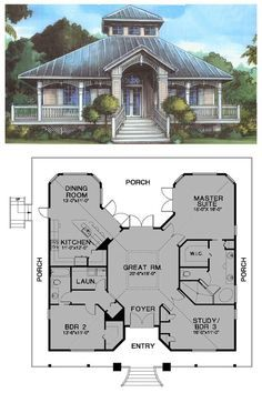 This is an interesting house plan. I love the wrap around porch. Maybe a bit too big to be called a small house plan. It has a hall closet and proper laundry room, features that are missing on many house plans. Florida Cracker Style COOL House Plan ID: Best House Plans, Dream House Plans, Small House Plans, House Floor Plans, My Dream Home, Dream Houses, Crazy Houses, Retirement House Plans, House Floor Design