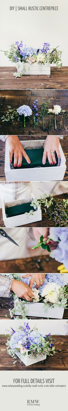 A Floral DIY Tutorial Showing You How To Create A Small Rustic Table Centrepiece Using A Wooden Crate.
