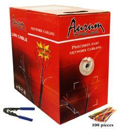 Aurum Cables 4 pair CAT5e – 24 AWG – 1000 ft Ethernet Network Cable – Copper Clad Aluminum (CCA) -…