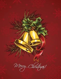 christmas vector illustration with bells Vector Graphics, Vector Art, Christmas Holiday, Xmas, Vectors, Design Art, Celebration, December, Ribbon