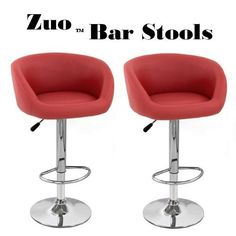 """Zuo Synthetic """"Leather"""" Adjustable Swivel Bar Stool - Bright Red (Set of 2) by South Mission, http://www.amazon.com/dp/B00AWWGJNI/ref=cm_sw_r_pi_dp_juNFsb1R0203Z"""
