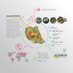 Susannite was discovered in 1827 in the Susannah Mine Leadhills in the county of Lanark Scotland. In addition to the type locality in Scotland it has also been reported from various locations in Germany Arizona Brazil and Namibia. #science #nature #geology #minerals #rocks #infographic #earth #susannite #scotland #germany #arizona #namibia