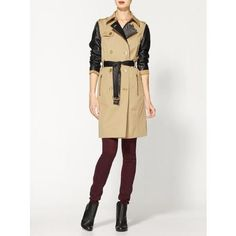 Michael Kors Trench With Leather Sleeves