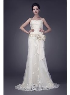 3fed18fd2a69 Sweetheart Satin Sheath Column Wedding Dress With Lace And Bow
