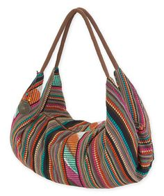 Brown & Multi-Color Penelope Slouchy Tote by JewelryPassport on Etsy