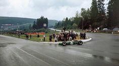 Spa F1 GP, 195? 🇧🇪 Jack Brabham negotiates the La Source hairpin.
