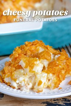 Cheesy Potatoes (also called Funeral Potatoes) are the ultimate comfort food! This easy hash brown casserole is loaded with cheesy potatoes, onion, garlic, sour cream and has a crunchy cornflake topping. The perfect side dish for the holidays! // Mom On Timeout #potatoes #sidedish #funeralpotatoes #cheesypotatoes #partypotatoes #casserole